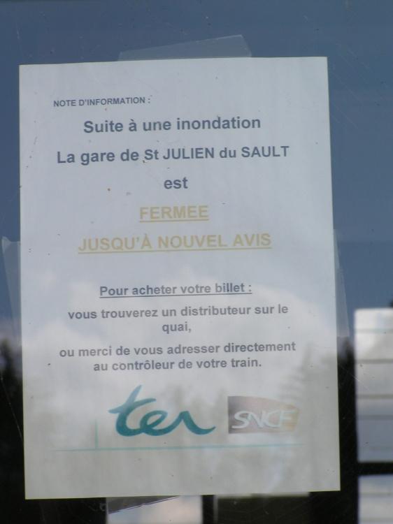 Note d\'information sur la fermeture de la gare