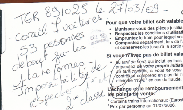 Constatation de 53 personnes voyageant debout à partir de Bercy/Bercy