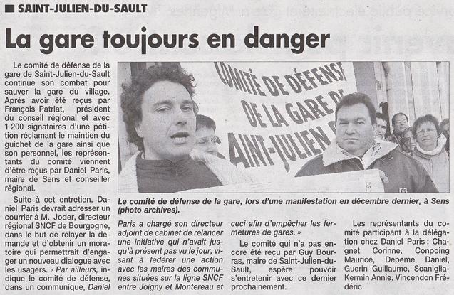 Saint-Julien-du-Sault La gare toujours en danger