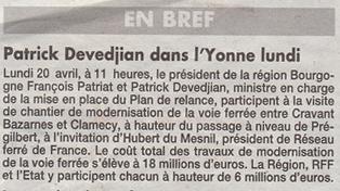 Devedjan dans l'Yonne pour la modernisation de la voie ferrée