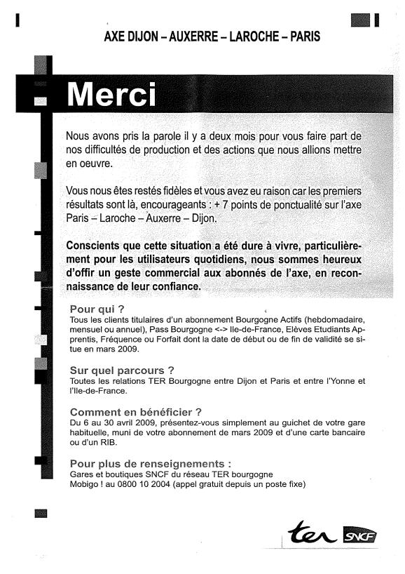 Information sur quai à SENS