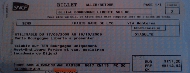 Billet 50% Sens - Paris