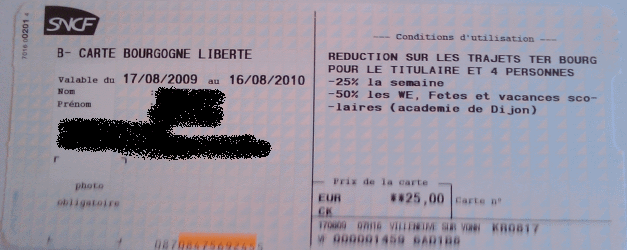 Carte Bourgogne Liberté Sens - Paris